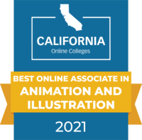CaliforniaOnlineColleges.com's 2021 Best Online Associate in Animation and Illustration in California Badge