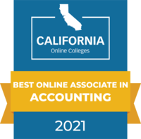 CaliforniaOnlineColleges.com's 2021 Best Online Associate in Accounting in California Badge