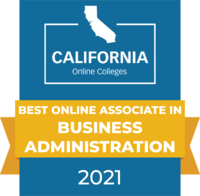 CaliforniaOnlineColleges.com's 2021 Best Online Associate in Business Administration in California Badge