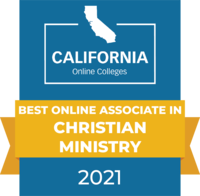 CaliforniaOnlineColleges.com's 2021 Best Online Associate in Christian Ministry in California Badge