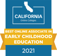 CaliforniaOnlineColleges.com's 2021 Best Online Associate in Early Childhood Education in California Badge