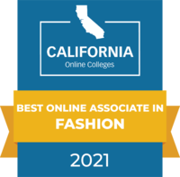 CaliforniaOnlineColleges.com's 2021 Best Online Associate in Fashion in California Badge
