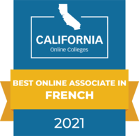 CaliforniaOnlineColleges.com's 2021 Best Online Associate in French in California Badge