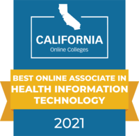 CaliforniaOnlineColleges.com's 2021 Best Online Associate in Health Information Technology in California Badge