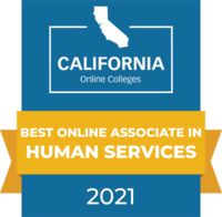CaliforniaOnlineColleges.com's 2021 Best Online Associate in Human Services in California Badge