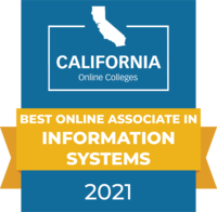 CaliforniaOnlineColleges.com's 2021 Best Online Associate in Information Systems in California Badge
