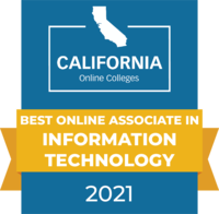 CaliforniaOnlineColleges.com's 2021 Best Online Associate in Information Technology in California Badge