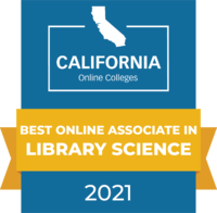 CaliforniaOnlineColleges.com's 2021 Best Online Associate in Library Science in California Badge