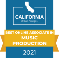 CaliforniaOnlineColleges.com's 2021 Best Online Associate in Music Production in California Badge