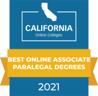 CaliforniaOnlineColleges.com's 2021 Best Online Associate Paralegal Degrees in California Badge