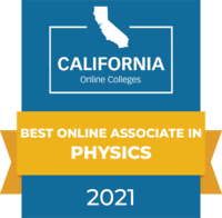 CaliforniaOnlineColleges.com's 2021 Best Online Associate in Physics in California Badge