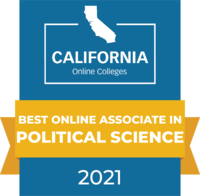 CaliforniaOnlineColleges.com's 2021 Best Online Associate in Political Science in California Badge