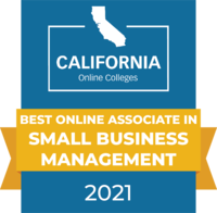 CaliforniaOnlineColleges.com's 2021 Best Online Associate in Small Business Management in California Badge