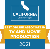 CaliforniaOnlineColleges.com's 2021 Best Online Associate in TV and Movie Production in California Badge