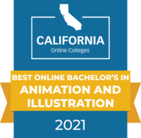 CaliforniaOnlineColleges.com's 2021 Best Online Bachelor's in Animation & Illustration in California Badge