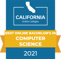 CaliforniaOnlineColleges.com's 2021 Best Online Bachelor's in Computer Science in California Badge