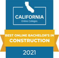 CaliforniaOnlineColleges.com's 2021 Best Online Bachelor's in Construction in California Badge