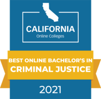 CaliforniaOnlineColleges.com's 2021 Best Online Bachelor's in Criminal Justice in California Badge