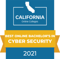 CaliforniaOnlineColleges.com's 2021 Best Online Bachelor's in Cyber Security in California Badge