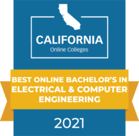 CaliforniaOnlineColleges.com's 2021 Best Online Bachelor's in Electrical and Computer Engineering in California Badge