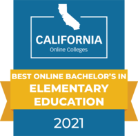 CaliforniaOnlineColleges.com's 2021 Best Online Bachelor's in Elementary Education in California Badge