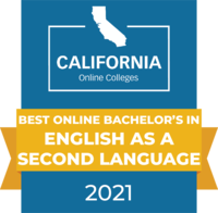 CaliforniaOnlineColleges.com's 2021 Best Online Bachelor's in English as a Second Language in California Badge