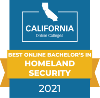 CaliforniaOnlineColleges.com's 2021 Best Online Bachelor's in Homeland Security in California Badge