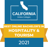 CaliforniaOnlineColleges.com's 2021 Best Online Bachelor's in Hospitality and Tourism in California Badge