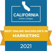 CaliforniaOnlineColleges.com's 2021 Best Online Bachelor's in Marketing in California Badge