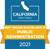 CaliforniaOnlineColleges.com's 2021 Best Online Bachelor's in Public Administration in California Badge