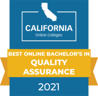CaliforniaOnlineColleges.com's 2021 Best Online Bachelor's in Quality Assurance in California Badge