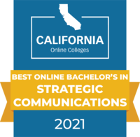 CaliforniaOnlineColleges.com's 2021 Best Online Bachelor's in Strategic Communications in California Badge