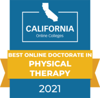 CaliforniaOnlineColleges.com's 2021 Best Online Doctorate in Physical Therapy in California Badge