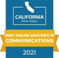 CaliforniaOnlineColleges.com's 2021 Best Online Master's in Communications in California Badge