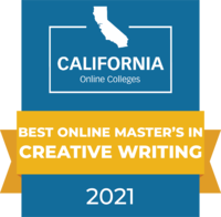 CaliforniaOnlineColleges.com's 2021 Best Online Master's in Creative Writing in California Badge