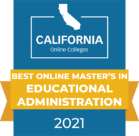 CaliforniaOnlineColleges.com's 2021 Best Online Master's in Educational Administration in California Badge