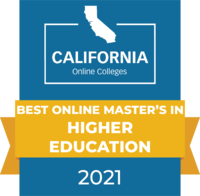 CaliforniaOnlineColleges.com's 2021 Best Online Master's in Higher Education in California Badge