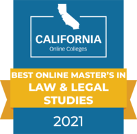 CaliforniaOnlineColleges.com's 2021 Best Online Master's in Law & Legal Studies in California Badge