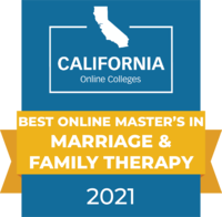 CaliforniaOnlineColleges.com's 2021 Best Online Master's in Marriage & Family Therapy in California Badge