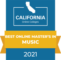 CaliforniaOnlineColleges.com's 2021 Best Online Master's in Music in California Badge