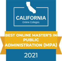 CaliforniaOnlineColleges.com's 2021 Best Online Master's in Public Administration (MPA) in California Badge