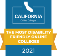 CaliforniaOnlineColleges.com's 2021 Most Disability Friendly Online Colleges in California Badge