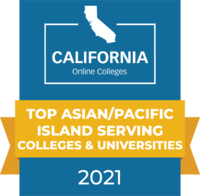 CaliforniaOnlineColleges.com's 2021 Top Asian and Pacific Islander Serving Colleges and Universities in California Badge