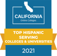 CaliforniaOnlineColleges.com's 2021 Top Hispanic Serving Colleges and Universities in California Badge